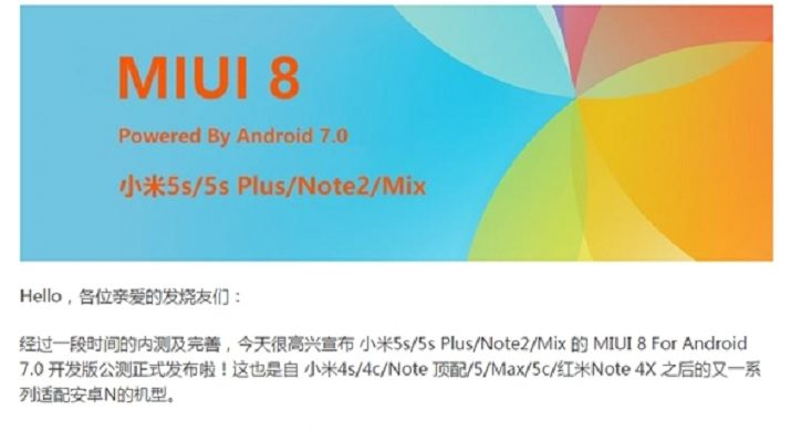 Android 7 MIUI 8